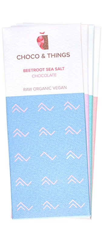 Vegan chocolate on display.